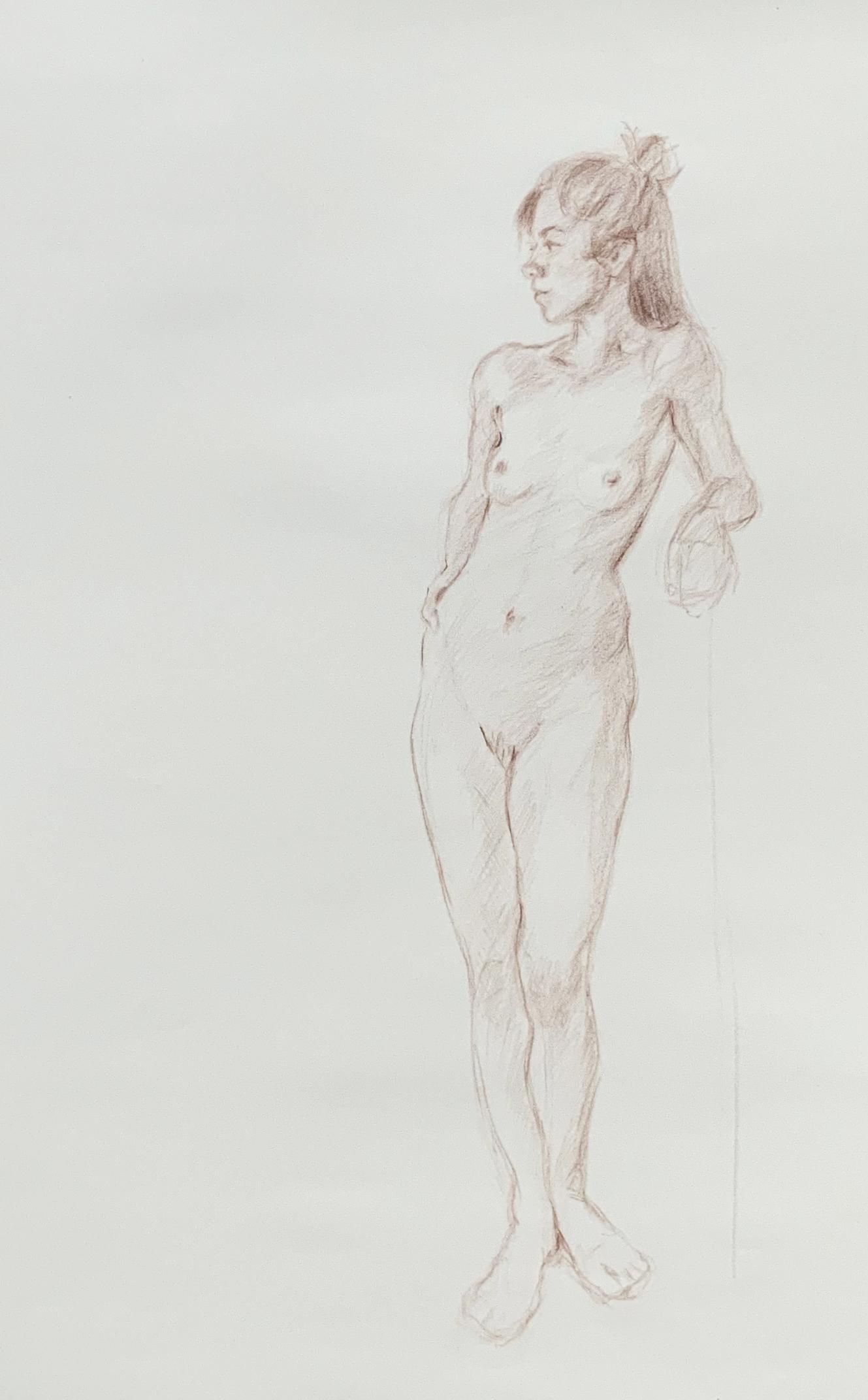 Schetsen van een vrouw, potlood op papier.